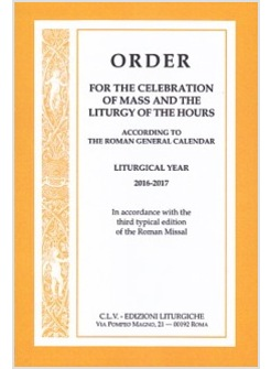 Order for the celebration mass and liturgy hours
